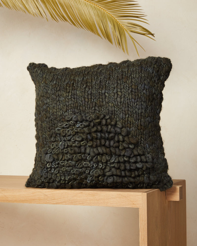 Minna Moon Shag Pillow - Moss Pillows Minna