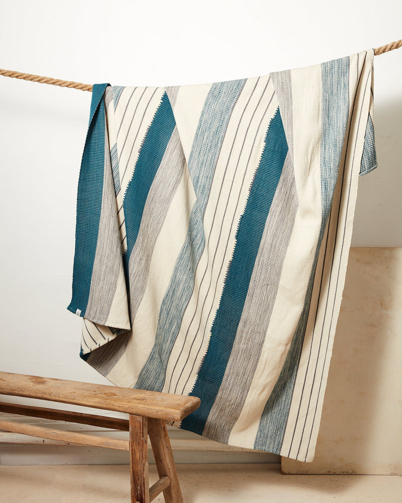 Pantelho Throw Blanket - Cerulean + Sage