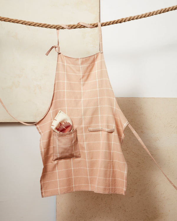 Minna Peach Grid Apron Kitchen Textiles Minna