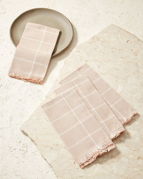 Minna Peach Grid Napkin Kitchen Textiles Minna