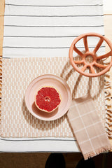 Minna Peach Grid Napkin Kitchen Textiles Minna-5010321506367