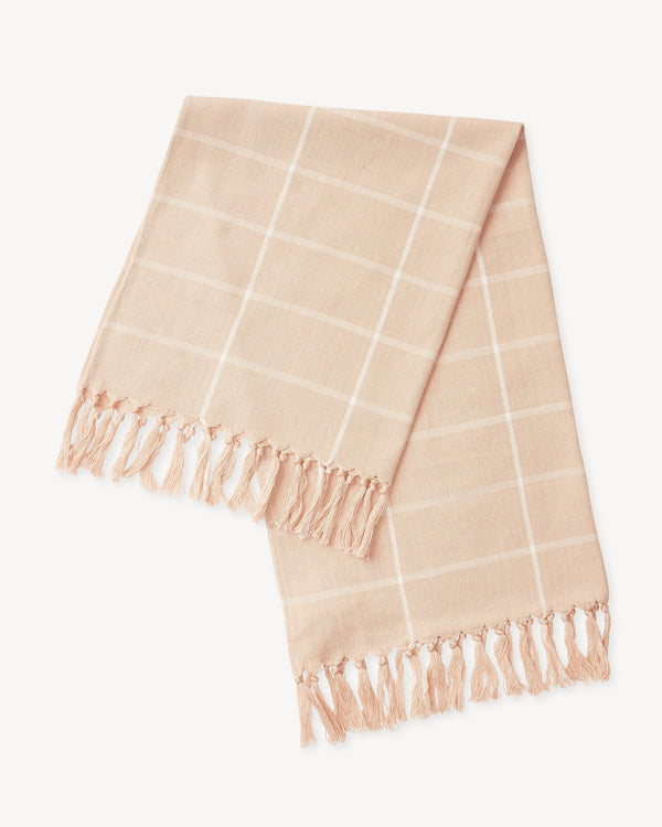 Minna Peach Grid Towel Kitchen Textiles Minna