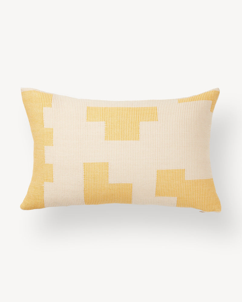 Minna Puzzle Lumbar Pillow - Lemon Pillows Minna