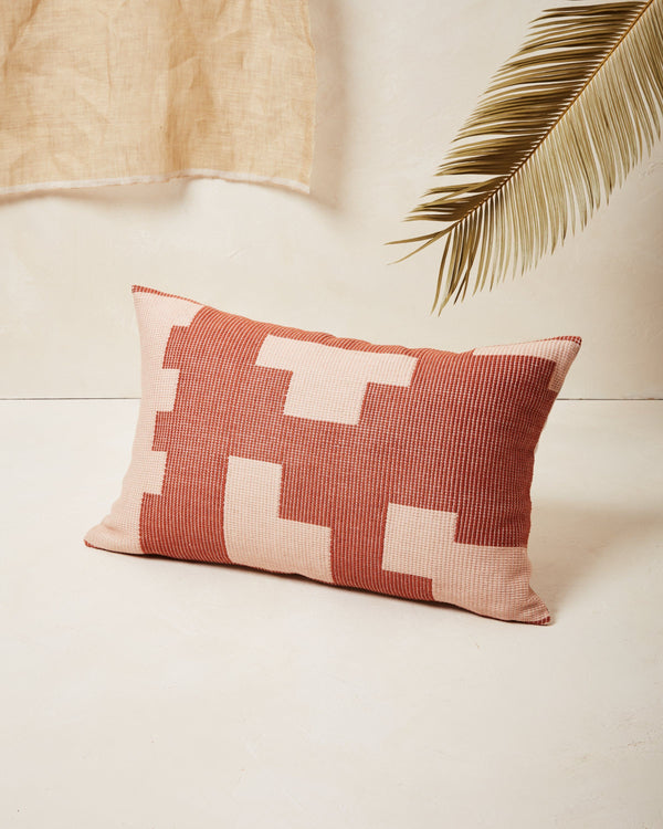 Minna Puzzle Lumbar Pillow - Terracotta Pillows Minna