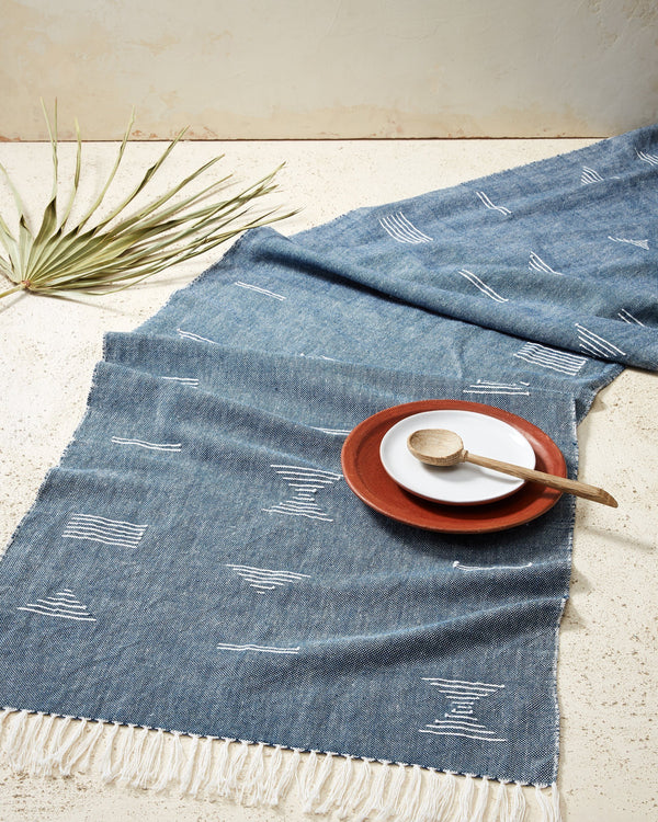Minna Shapes Runner Blue Kitchen Textiles Minna