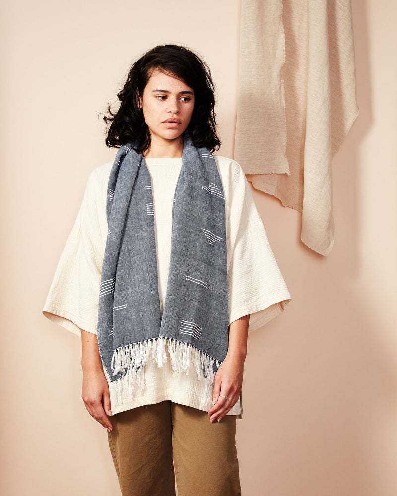 Minna Shapes Scarf Blue Accessory Minna