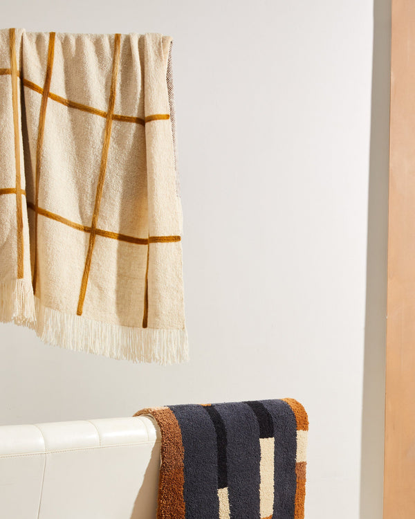 Minna Split Grid Throw - Turmeric Blanket Minna