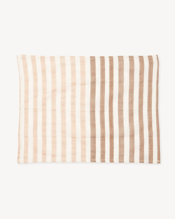 Minna Stripe Placemat - Apricot Kitchen Textiles Minna