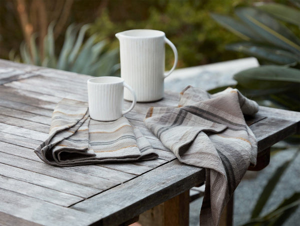 Mojave Linen Kitchen Towel Set - Gray Kitchen Coyuchi