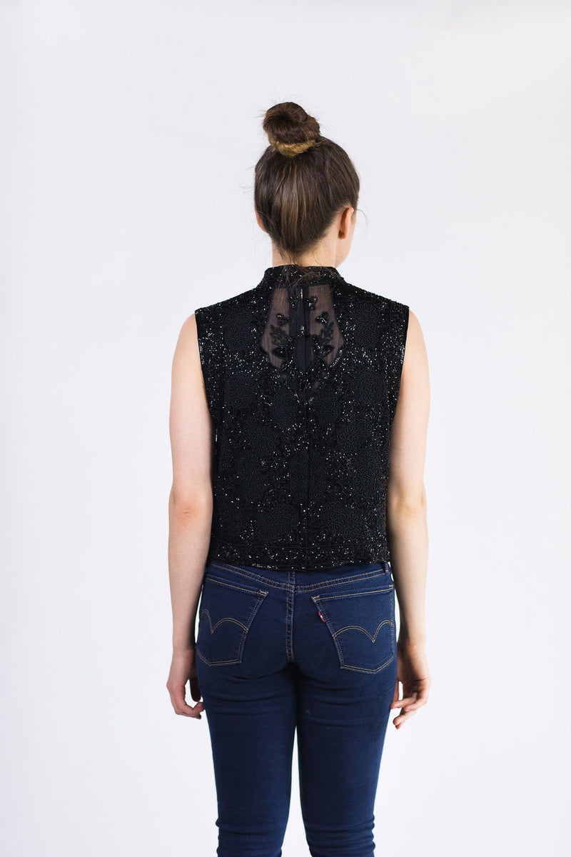 Mosaic By Ali Beaded Cropped Vest - Black Mosaic By Ali