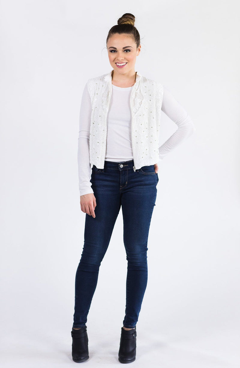Mosaic By Ali Beaded Cropped Vest - Ivory and Crystal Mosaic By Ali