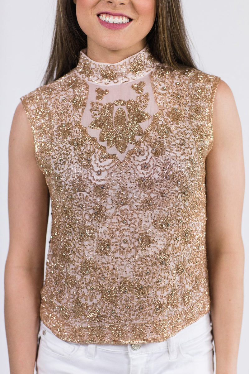 Mosaic By Ali Beaded Cropped Vest - Rose Gold Mosaic By Ali