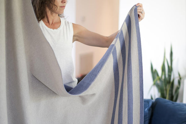 Newly Goods Cumberland Blue Throw Blanket Cotton Newly Goods