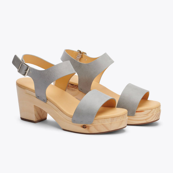 Nisolo All-Day Open Toe Clog Sky Grey Women's Leather Clog Nisolo