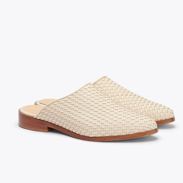 Nisolo Ama Mule Woven Bone Women's Leather Slip On Nisolo