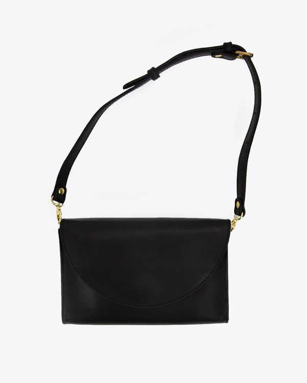 Nisolo Cleo Convertible Clutch Black Leather Handbag - unlined Nisolo