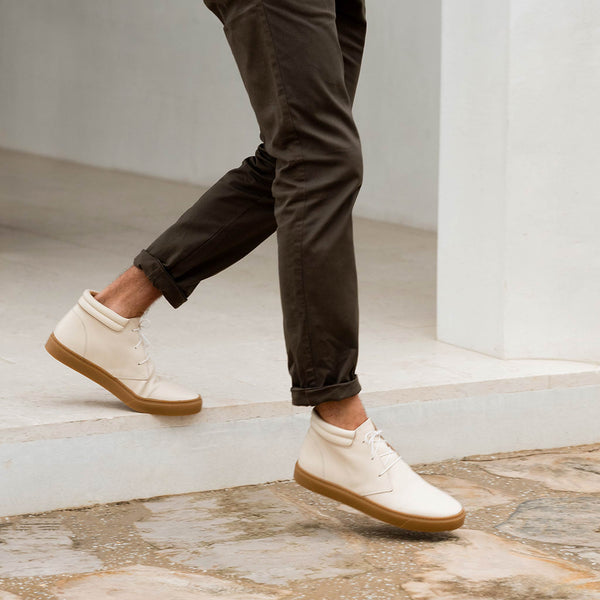 Nisolo Cortez Mid Top Sneaker Bone/Gum Men's Leather Sneaker Nisolo