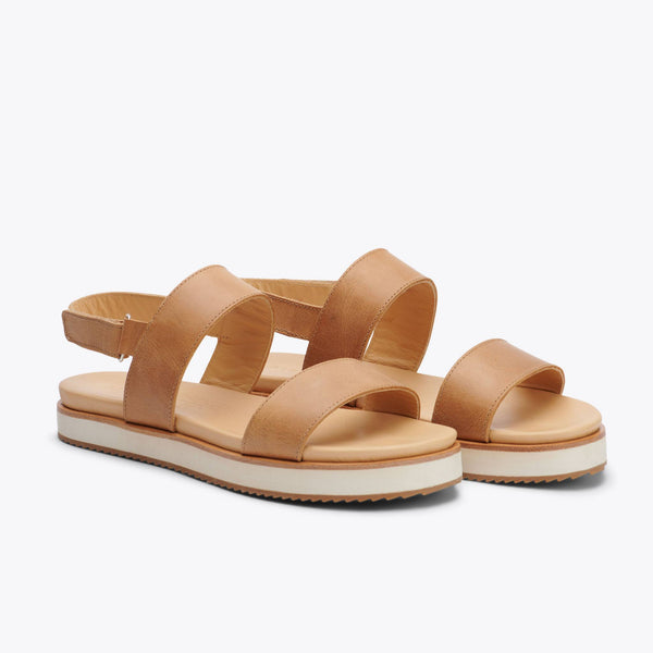 Nisolo Go-To Flatform Sandal Almond Women's Leather Sandal Nisolo