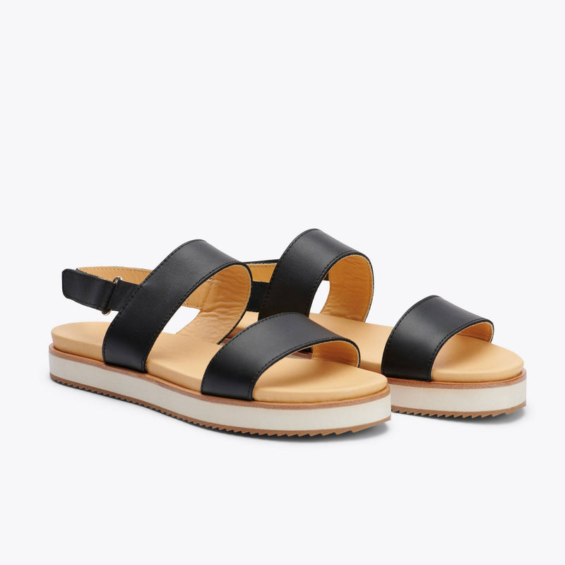 Nisolo Go-To Flatform Sandal Black Women's Leather Sandal Nisolo