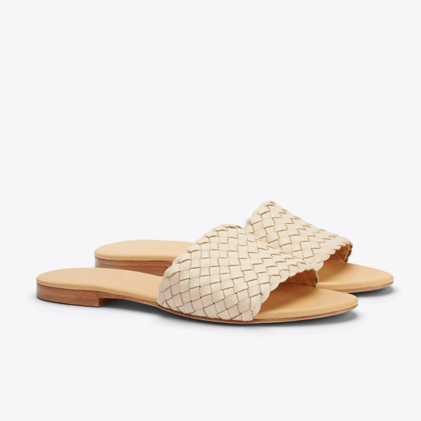 Nisolo Isla Woven Slide Sandal Bone Women's Leather Sandal Nisolo