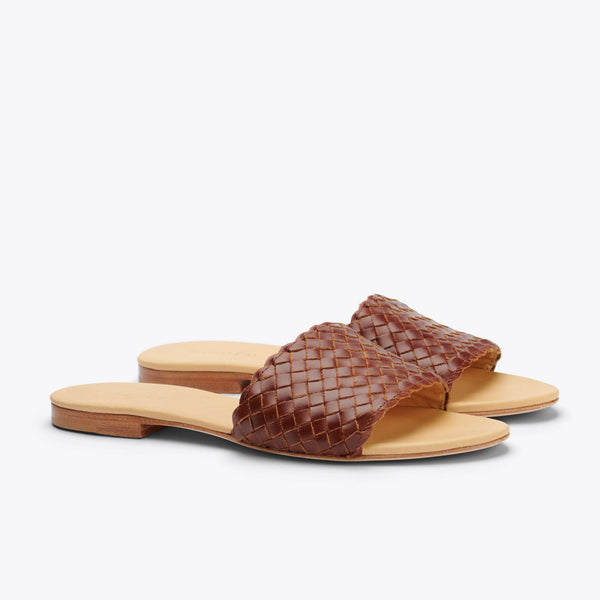 Nisolo Isla Woven Slide Sandal Brandy Women's Leather Sandal Nisolo