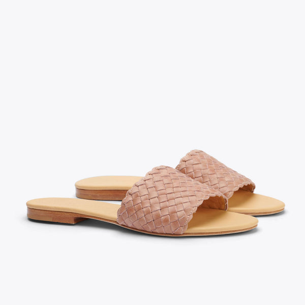Nisolo Isla Woven Slide Sandal Desert Rose Women's Leather Sandal Nisolo