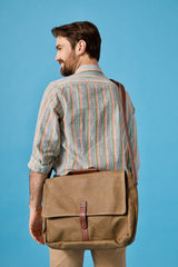 Nisolo Loreto Messenger Bag Waxed Canvas Leather goods Nisolo-5009607786559