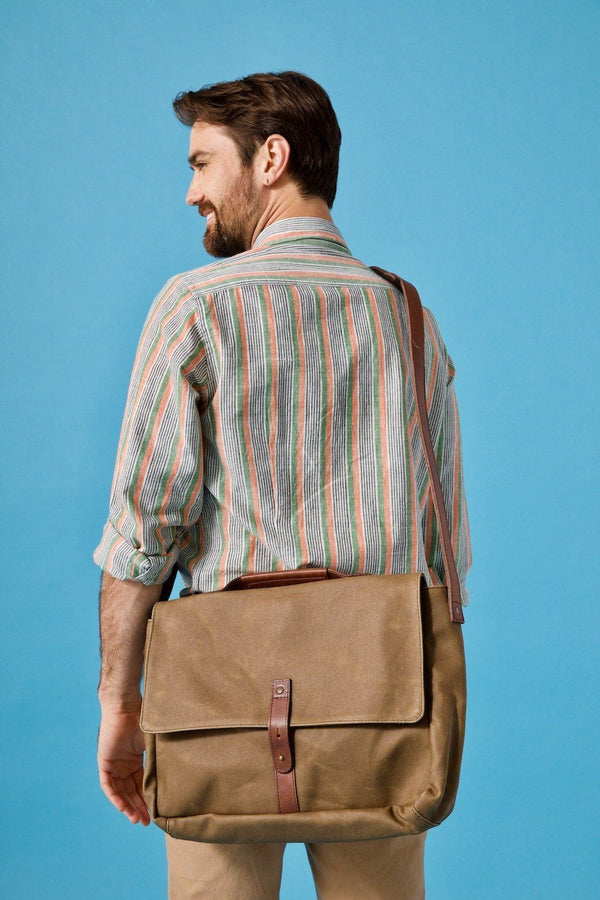 Nisolo Loreto Messenger Bag Waxed Canvas Leather goods Nisolo