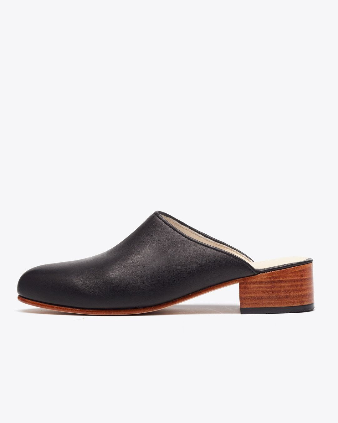 Nisolo Mariella Mule Black Women's Leather Heel Nisolo