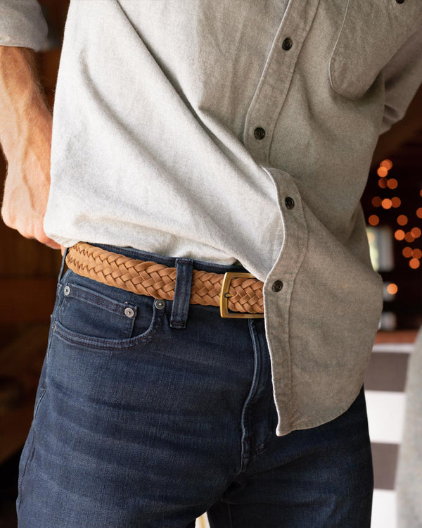 Nisolo Teyo Woven Belt Tobacco Leather Belt Nisolo