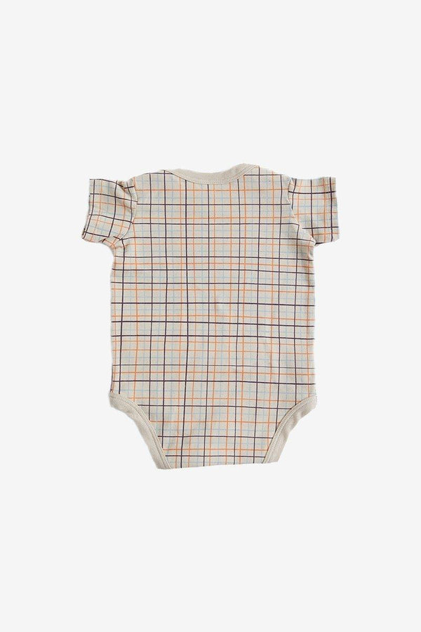 North of West Grid Organic Onesie - Fog Onesie North of West