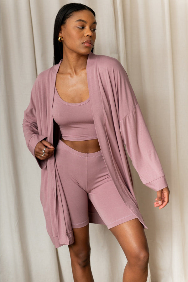 Oli Bamboo Robe - Dusty Rose Lounge Mary Young