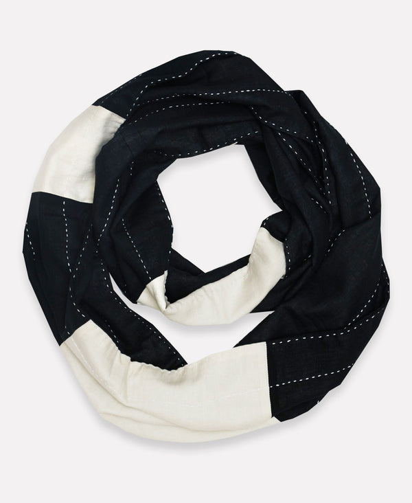 Organic Cotton Stripe Infinity Scarf - Charcoal Anchal Project