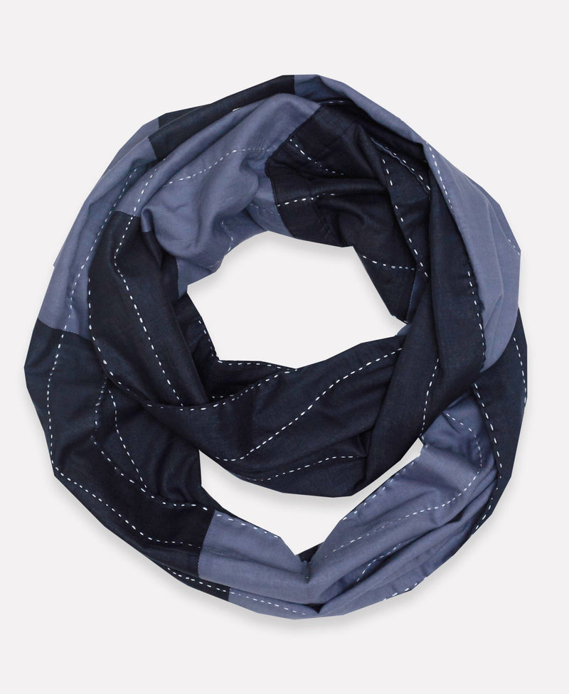 Organic Cotton Stripe Infinity Scarf - Navy Anchal Project