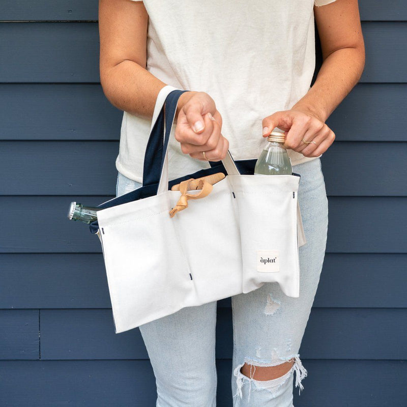 Organic Cotton Vin One Bottle Wine Tote - Blackberry Wine Tote Aplat
