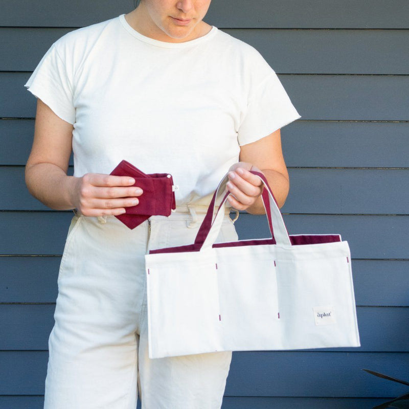 Organic Cotton Vin One Bottle Wine Tote - Merlot Wine Tote Aplat