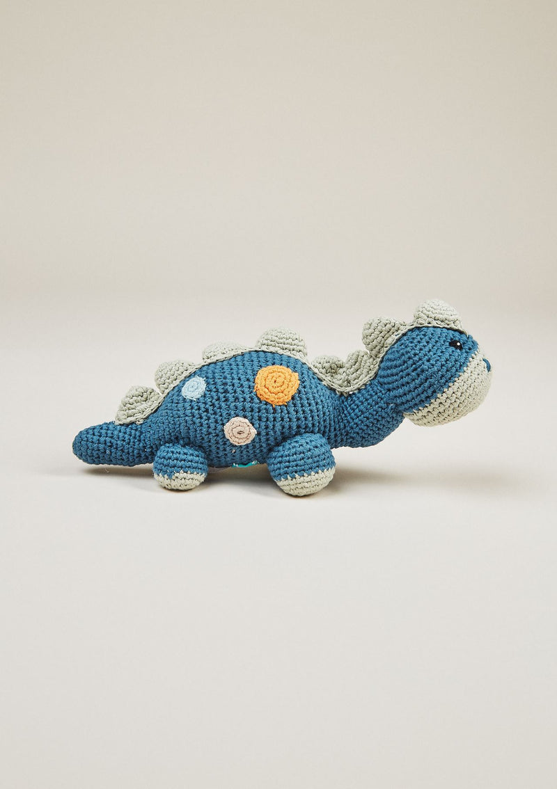 Organic Dino Rattle - Petrol Blue Hidden Pebble