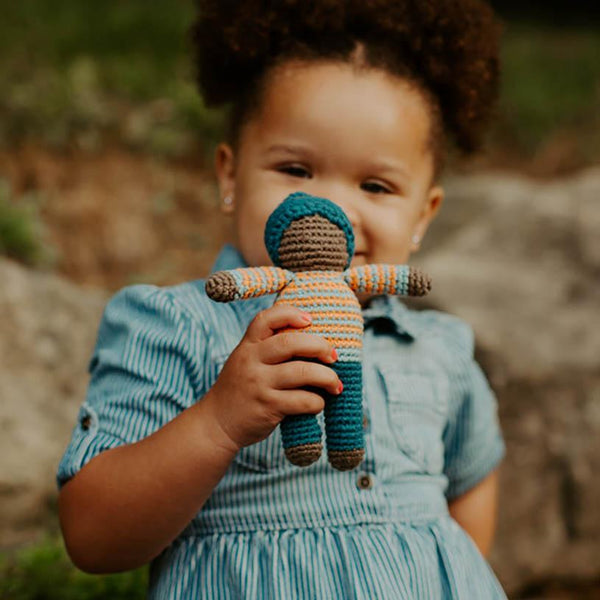 Organic Pixie Rattle Doll Pebble Blue