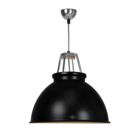 Original BTC Titan Size 3 Pendant Light ETC Original Black with White Interior