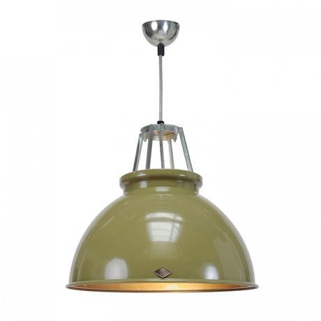 Original BTC Titan Size 3 Pendant Light ETC Original Olive Green with Bronze Interior