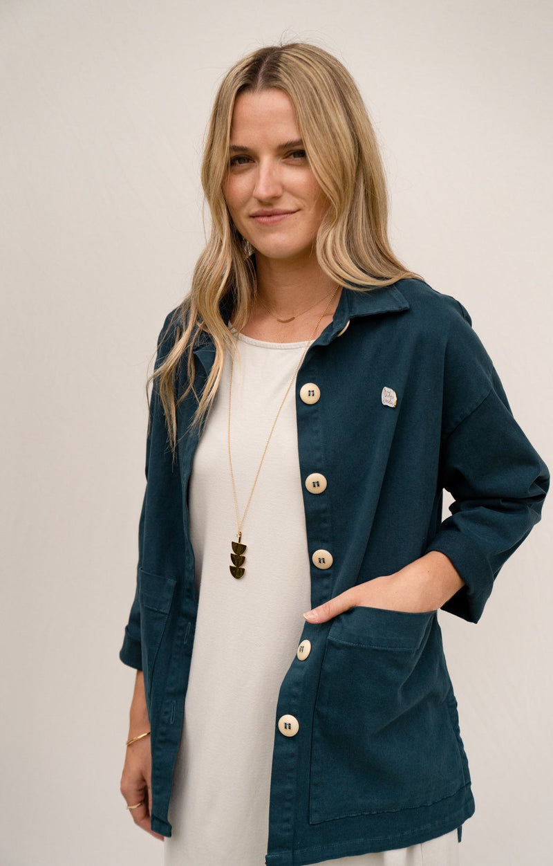 Painters Button Jacket - Rich Teal SHIRT Mien