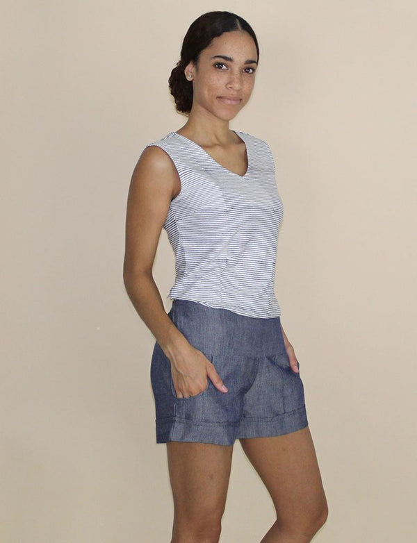 Passion Lilie Chambray Ikat Shorts Shorts Passion Lilie