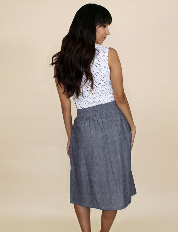 Passion Lilie Chambray Midi Skirt Skirts Passion Lilie