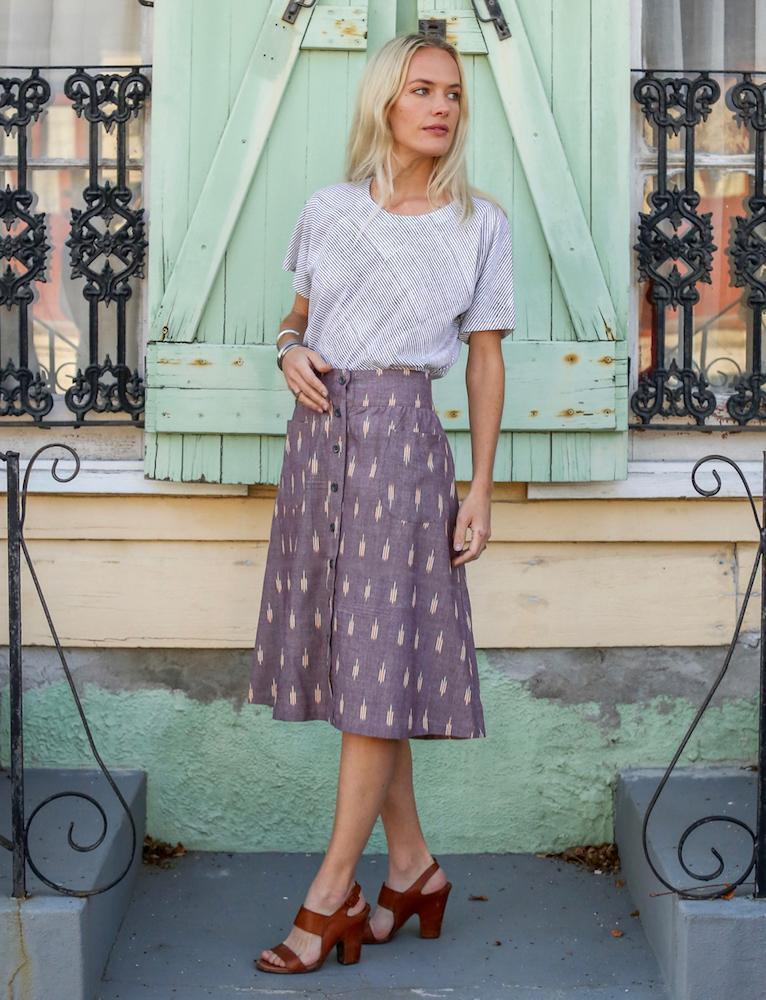 Passion Lilie Grape Chambray Midi Skirt Skirts Passion Lilie