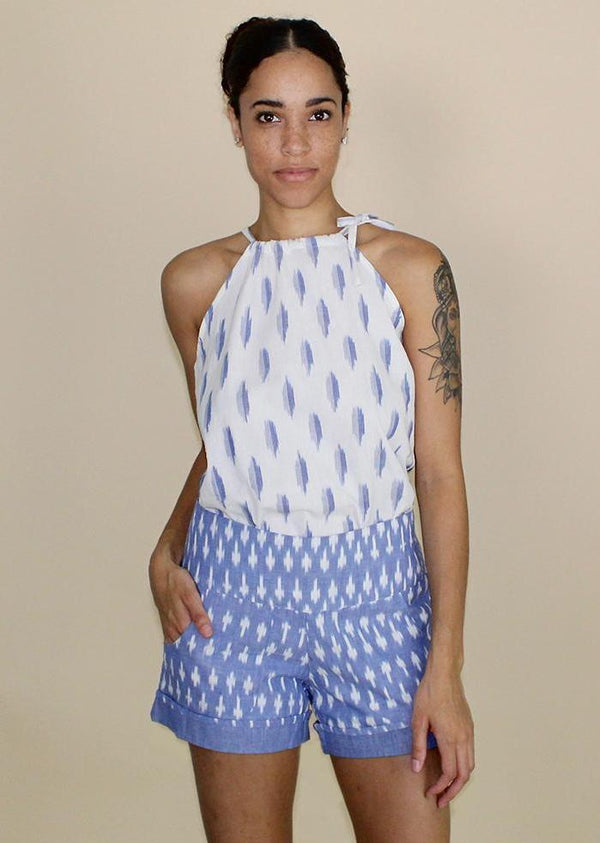 Passion Lilie Light Blue Ikat Shorts Pants Passion Lilie