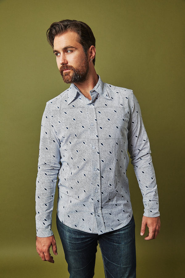 Passion Lilie The Diagonal Men's Button Down Shirt - Organic Cotton men's shirts Passion Lilie
