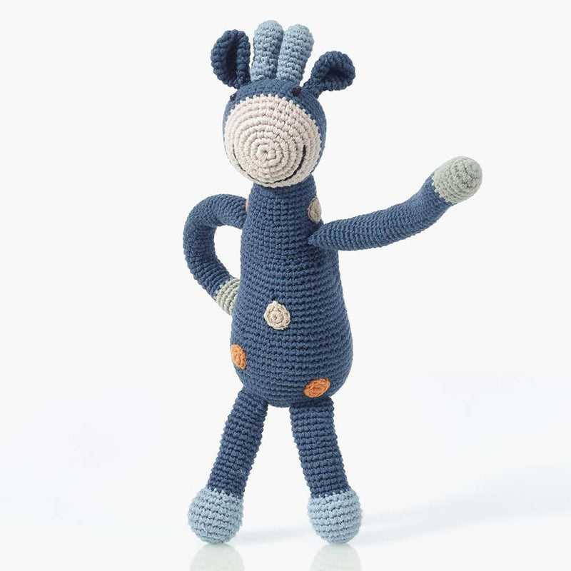 Pebble Organic Blue Giraffe Rattle Pebble