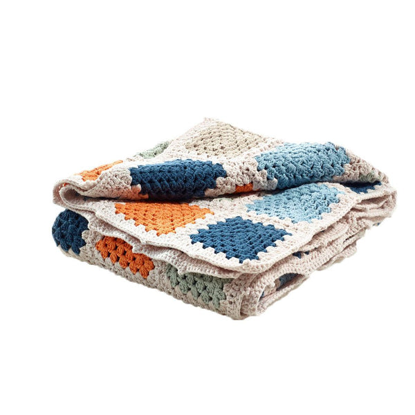 Pebble Organic Blue Granny Square Blanket Pebble
