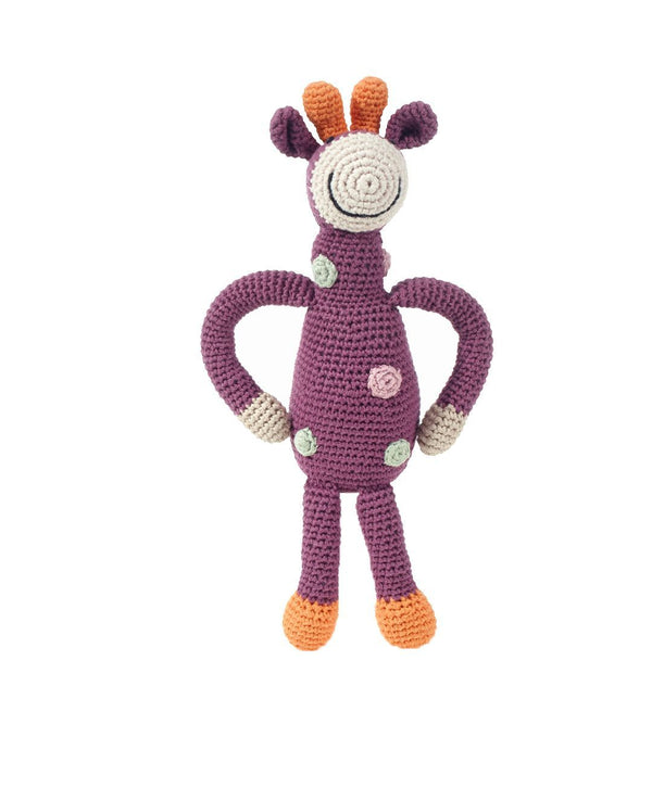 Pebble Organic Purple Giraffe Rattle Pebble