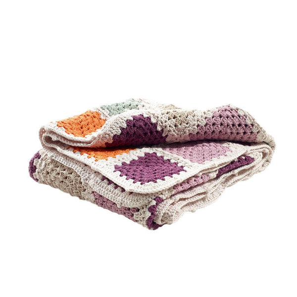 Pebble Organic Purple Granny Square Blanket Pebble